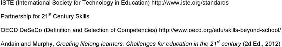 Selection of Competencies) http://www.oecd.