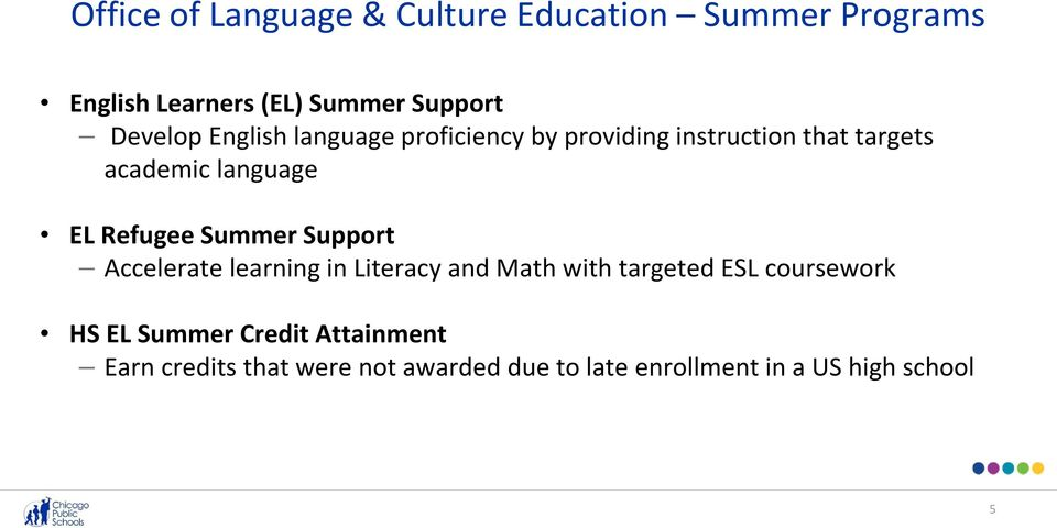 Refugee Summer Support Accelerate learning in Literacy and Math with targeted ESL coursework HS