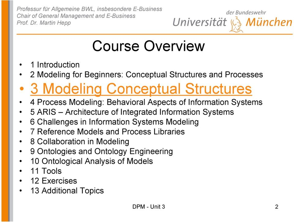 Systems 6 Challenges in Information Systems Modeling 7 Reference Models and Process Libraries 8 Collaboration in Modeling