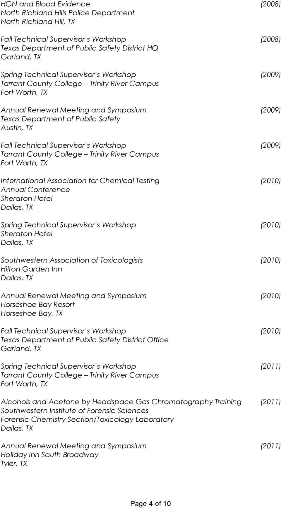 Association for Chemical Testing (2010) Annual Conference Sheraton Hotel Spring Technical Supervisor s Workshop (2010) Sheraton Hotel Southwestern Association of Toxicologists (2010) Hilton Garden