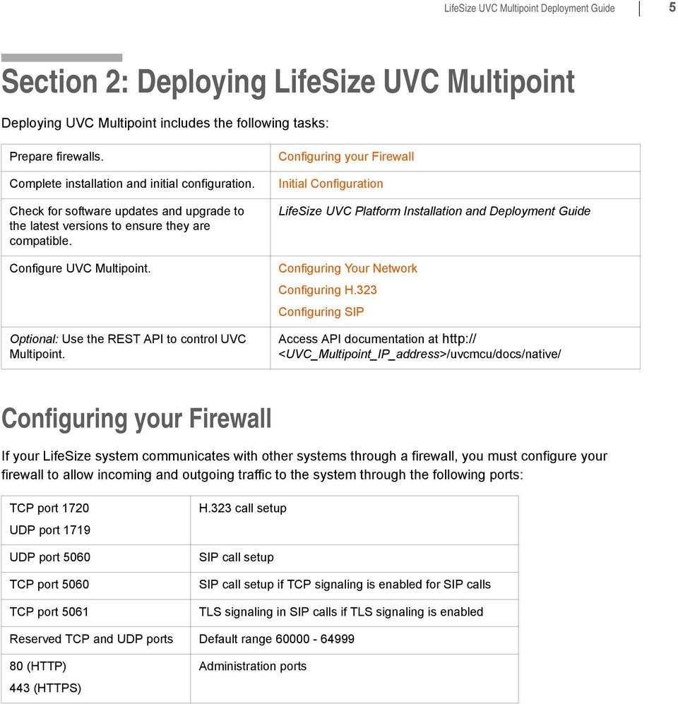 Optional: Use the REST API to control UVC Multipoint. Configuring your Firewall Initial Configuration LifeSize UVC Platform Installation and Deployment Guide Configuring Your Network Configuring H.