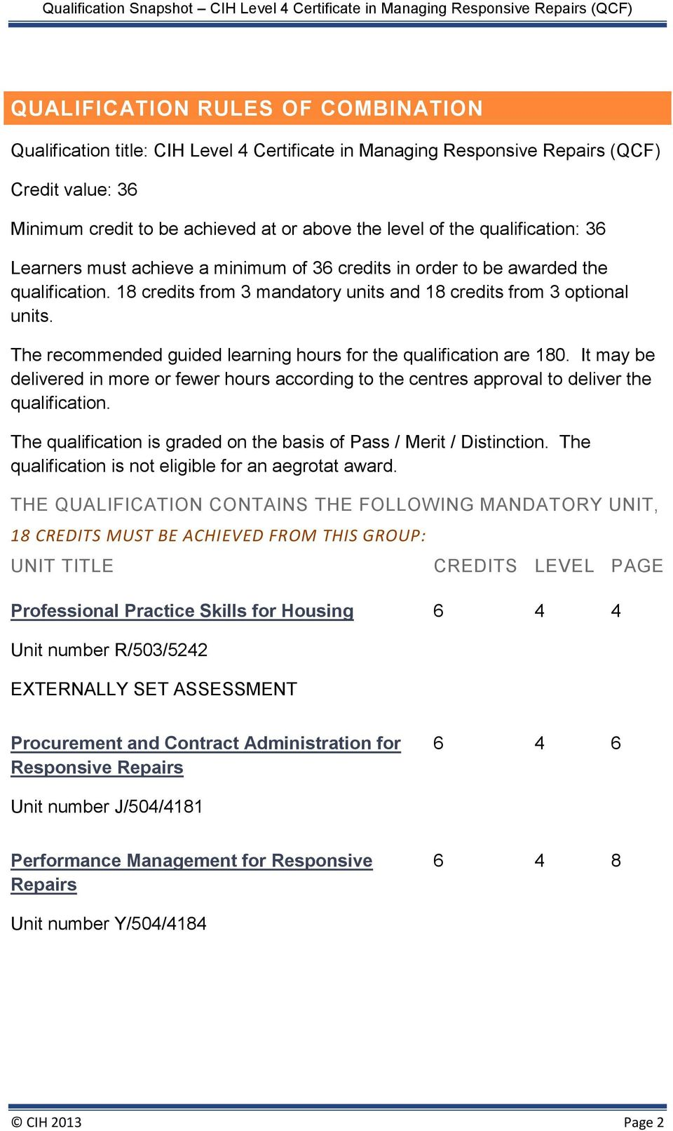 The recommended guided learning hours for the qualification are 180. It may be delivered in more or fewer hours according to the centres approval to deliver the qualification.