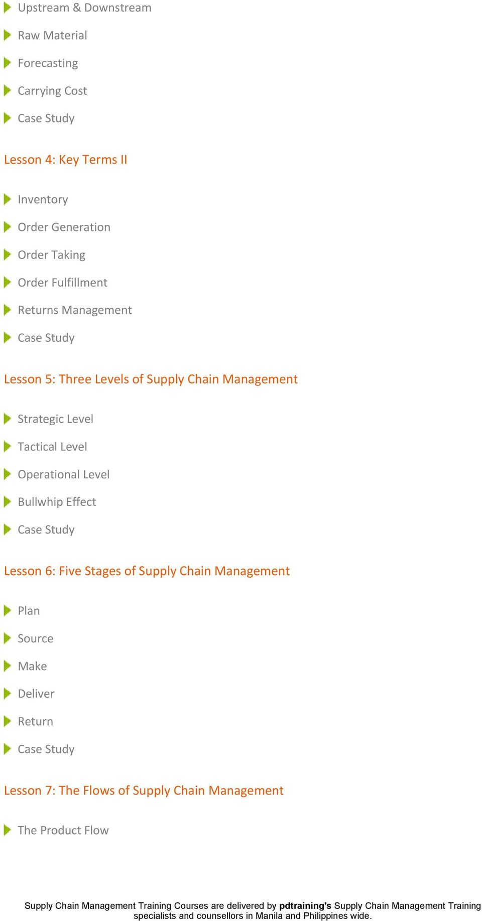 Management Strategic Level Tactical Level Operational Level Bullwhip Effect Lesson 6: Five Stages of