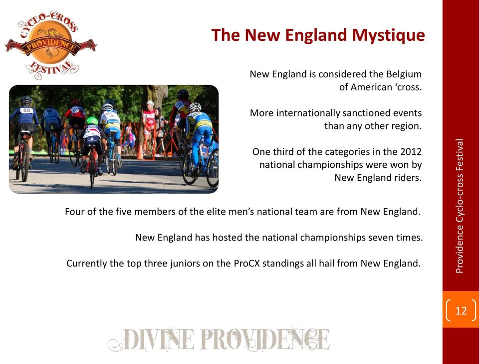 One third of the categories in the 2012 national championships were won by New England riders.