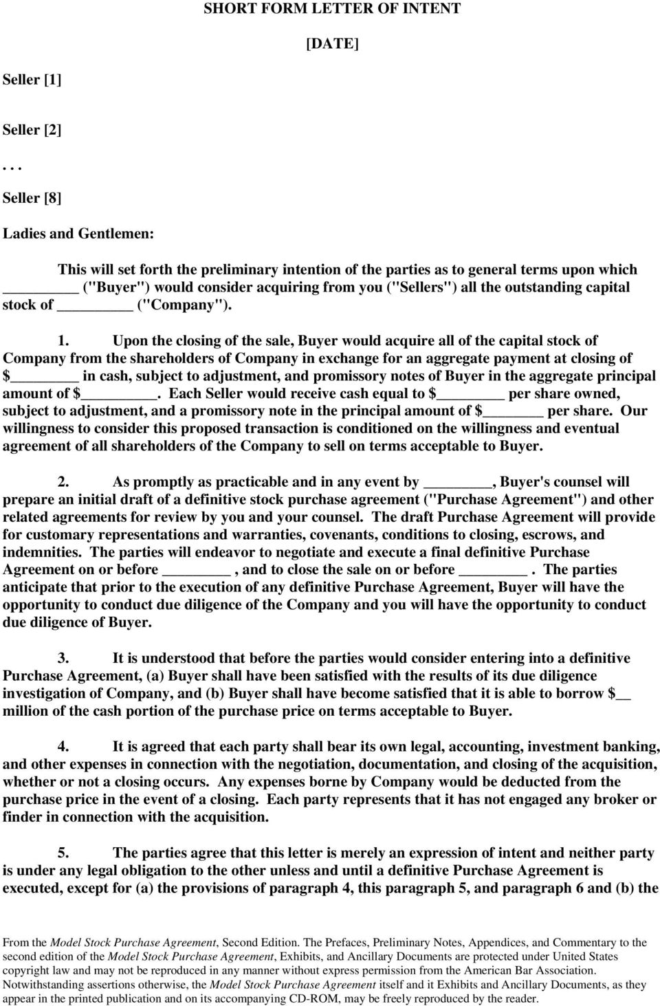 Model Stock Purchase Agreement Second Edition Ancillary Document B