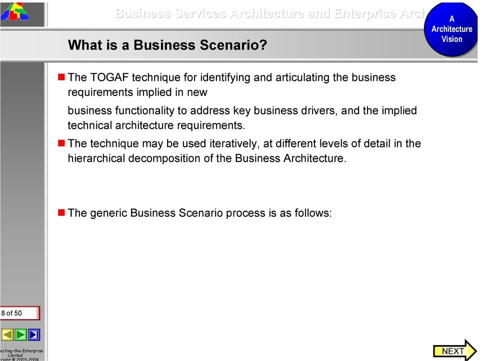 functionality to address key business drivers, and the implied technical architecture requirements.