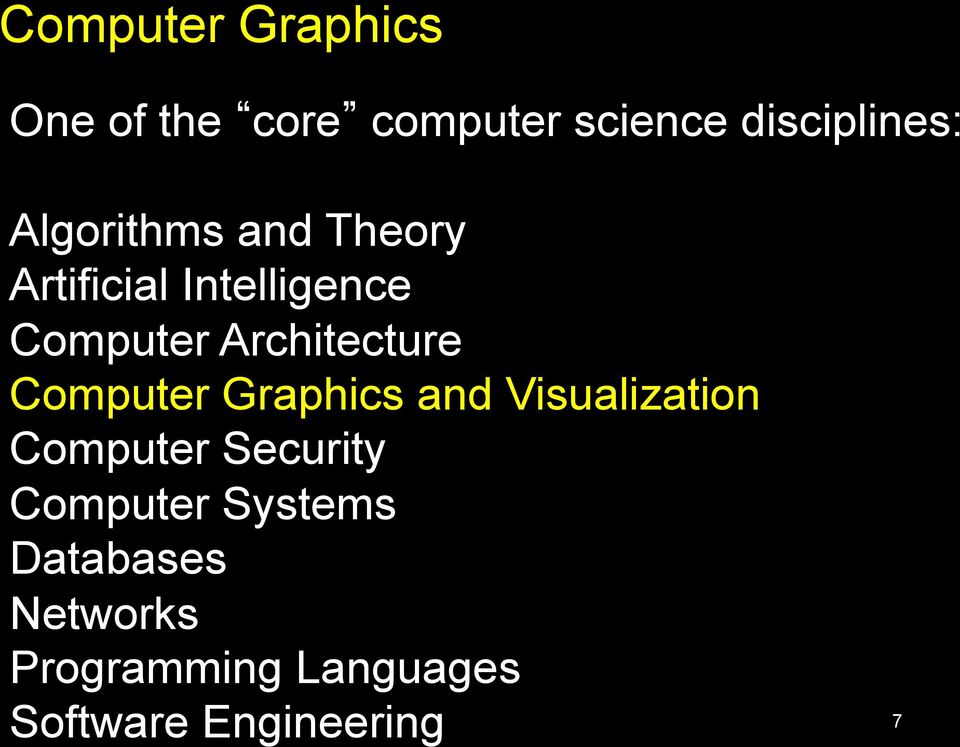 Architecture Computer Graphics and Visualization Computer Security