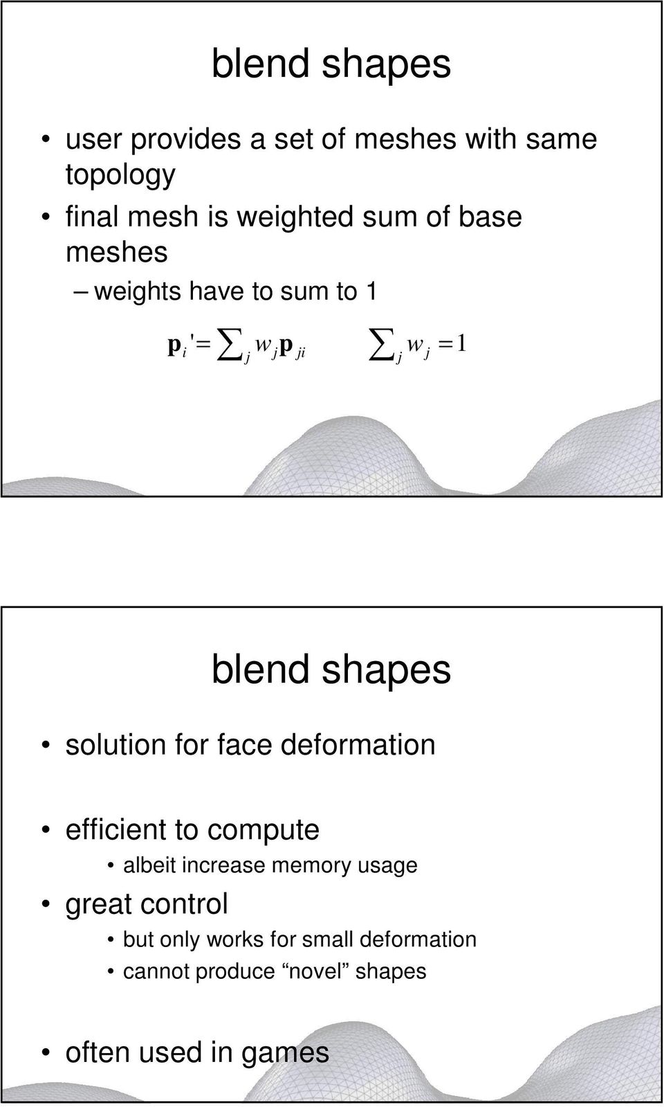 solution for face deformation efficient to compute albeit increase memory usage great