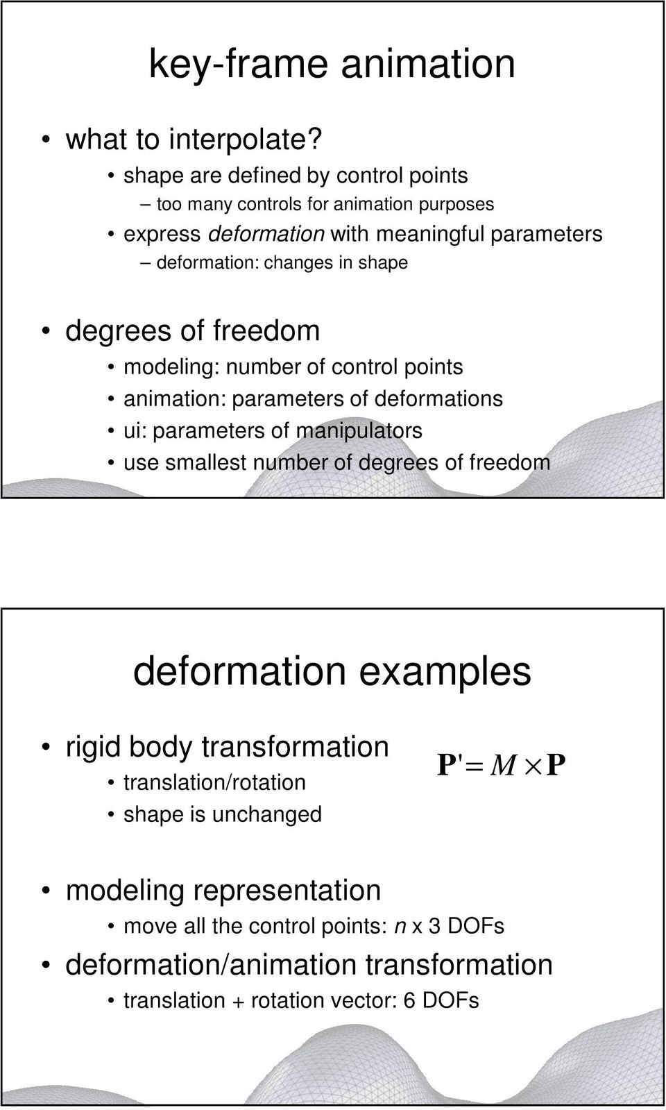 shape degrees of freedom modeling: number of control points animation: parameters of deformations ui: parameters of manipulators use smallest number