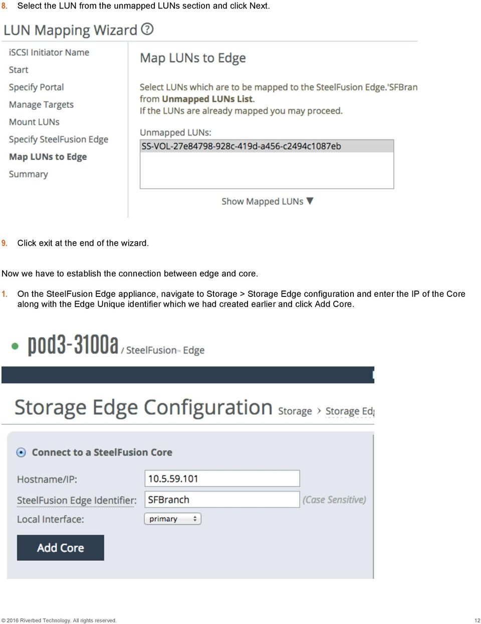 On the SteelFusion Edge appliance, navigate to Storage > Storage Edge configuration and enter the IP of