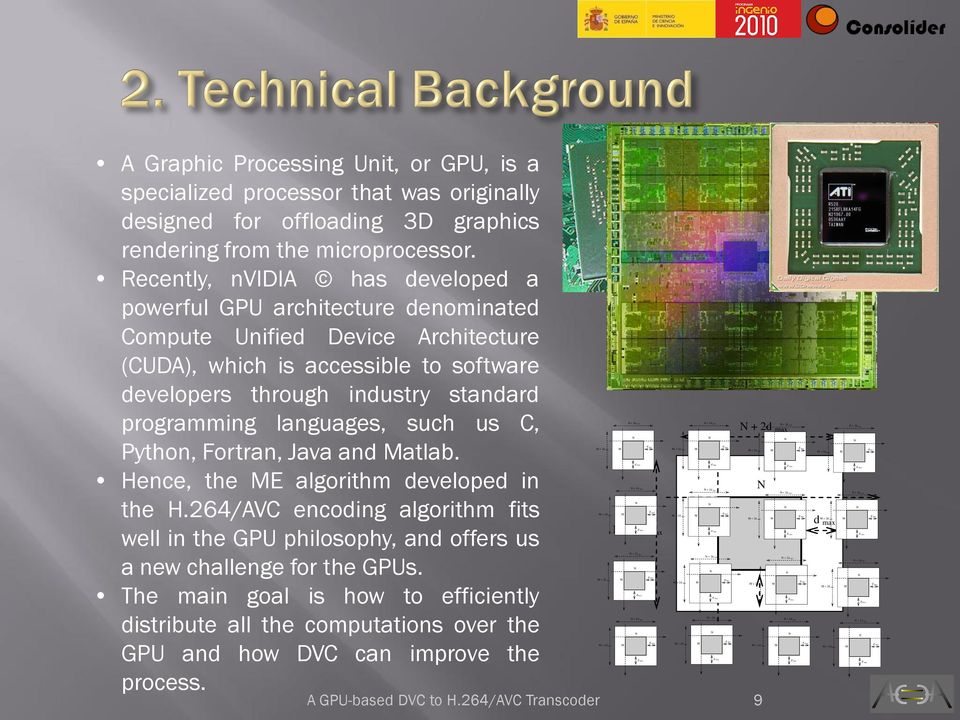 languages, such us C, Python, Fortran, Java and atlab. Hence, the E algorithm developed in the H.264/AVC encoding algorithm fits well in the GPU philosophy, and offers us a new challenge for the GPUs.