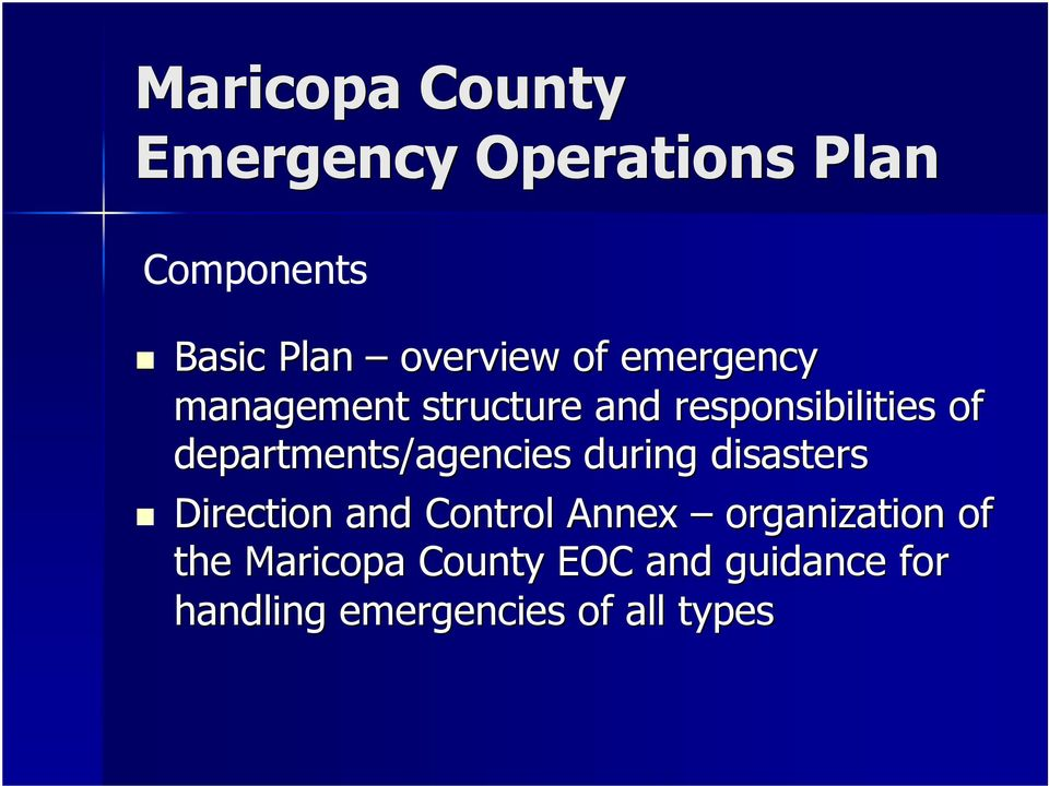 departments/agencies during disasters Direction and Control Annex