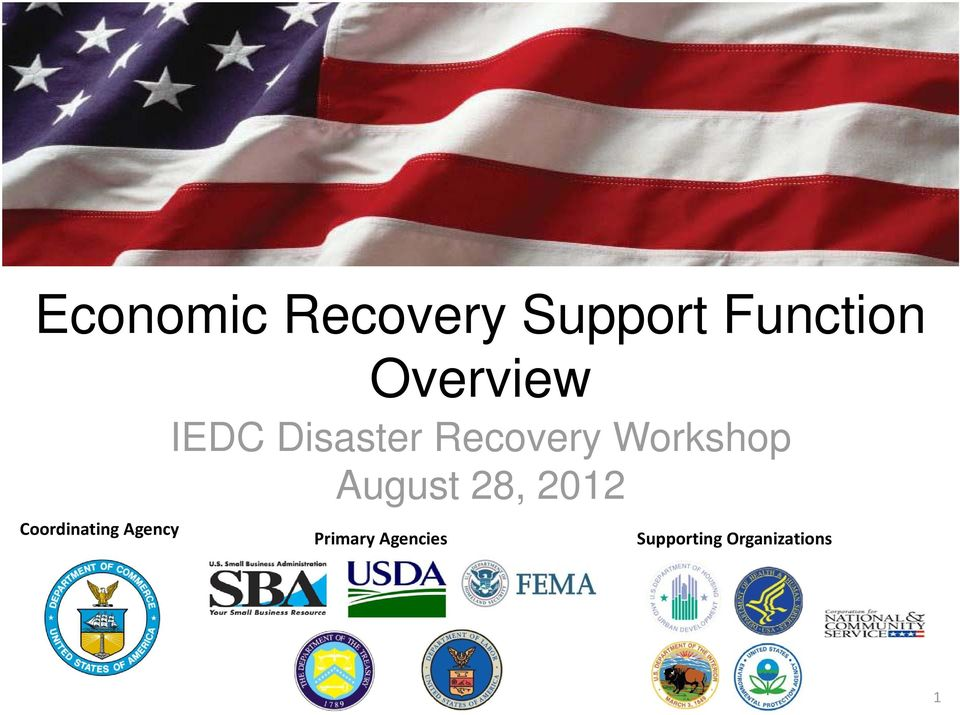 Disaster Recovery Workshop August 28,