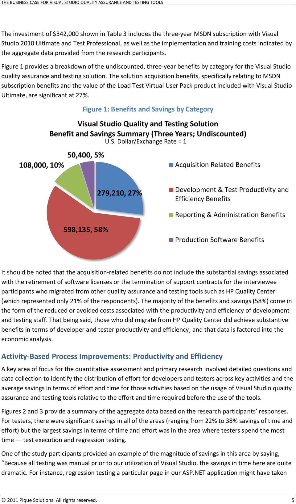 Figure 1 provides a breakdown of the undiscounted, three-year benefits by category for the Visual Studio quality assurance and testing solution.