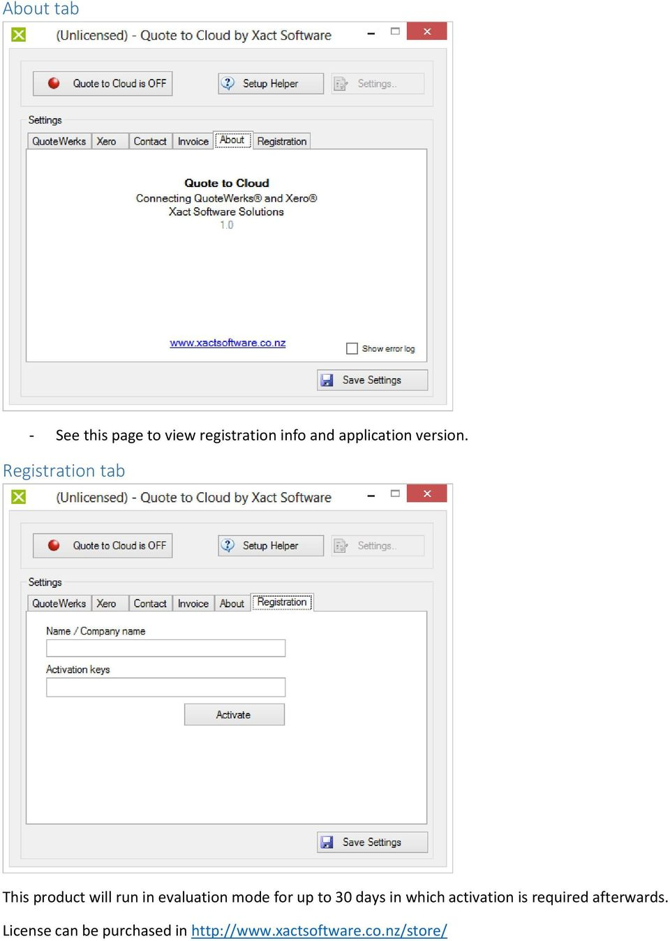 Registration tab This product will run in evaluation mode for up