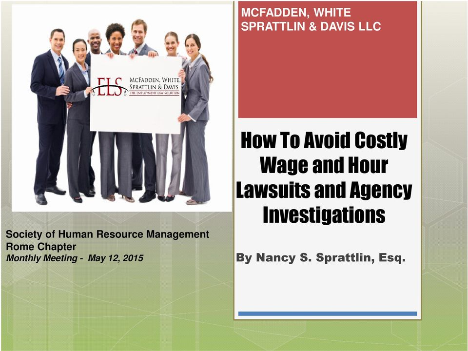 Meeting - May 12, 2015 How To Avoid Costly Wage and