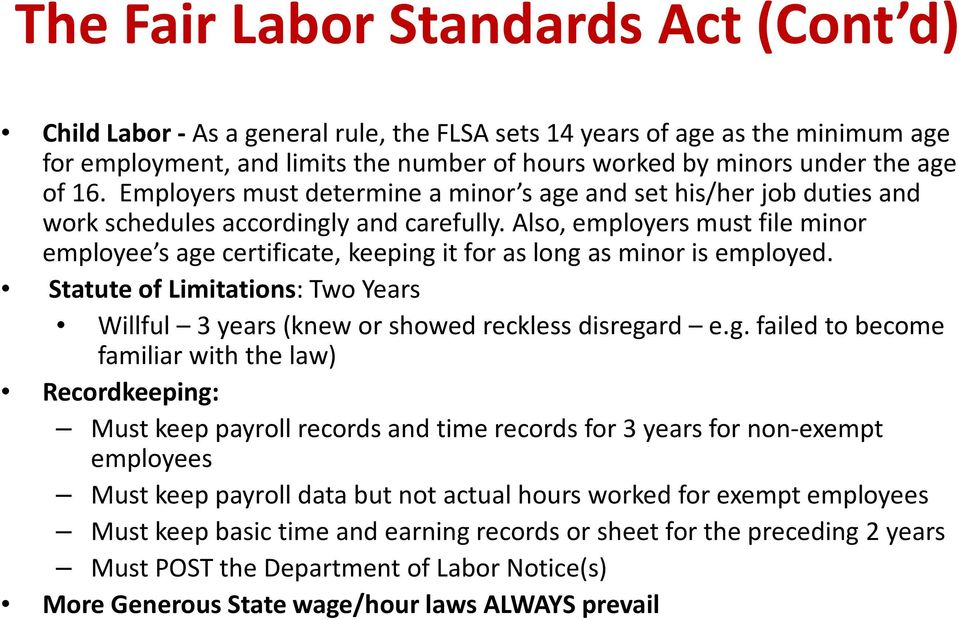 Also, employers must file minor employee s age