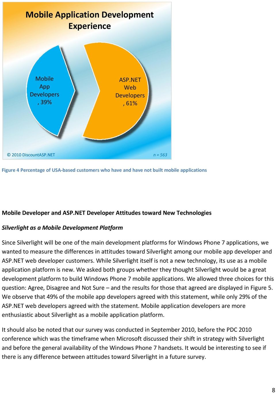 NET Developer Attitudes toward New Technologies Silverlight as a Mobile Development Platform Since Silverlight will be one of the main development platforms for Windows Phone 7 applications, we