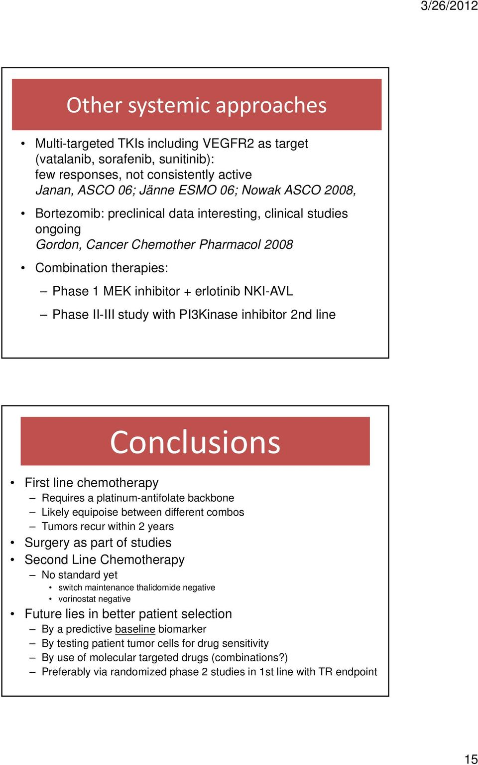 PI3Kinase inhibitor 2nd line Conclusions First line chemotherapy Requires a platinum-antifolate backbone Likely equipoise between different combos Tumors recur within 2 years Surgery as part of