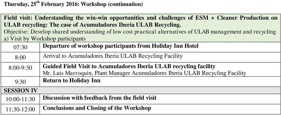 Objective: Develop shared understanding of low cost practical alternatives of ULAB management and recycling a) Visit by Workshop participants 07:30 Departure of workshop participants from Holiday