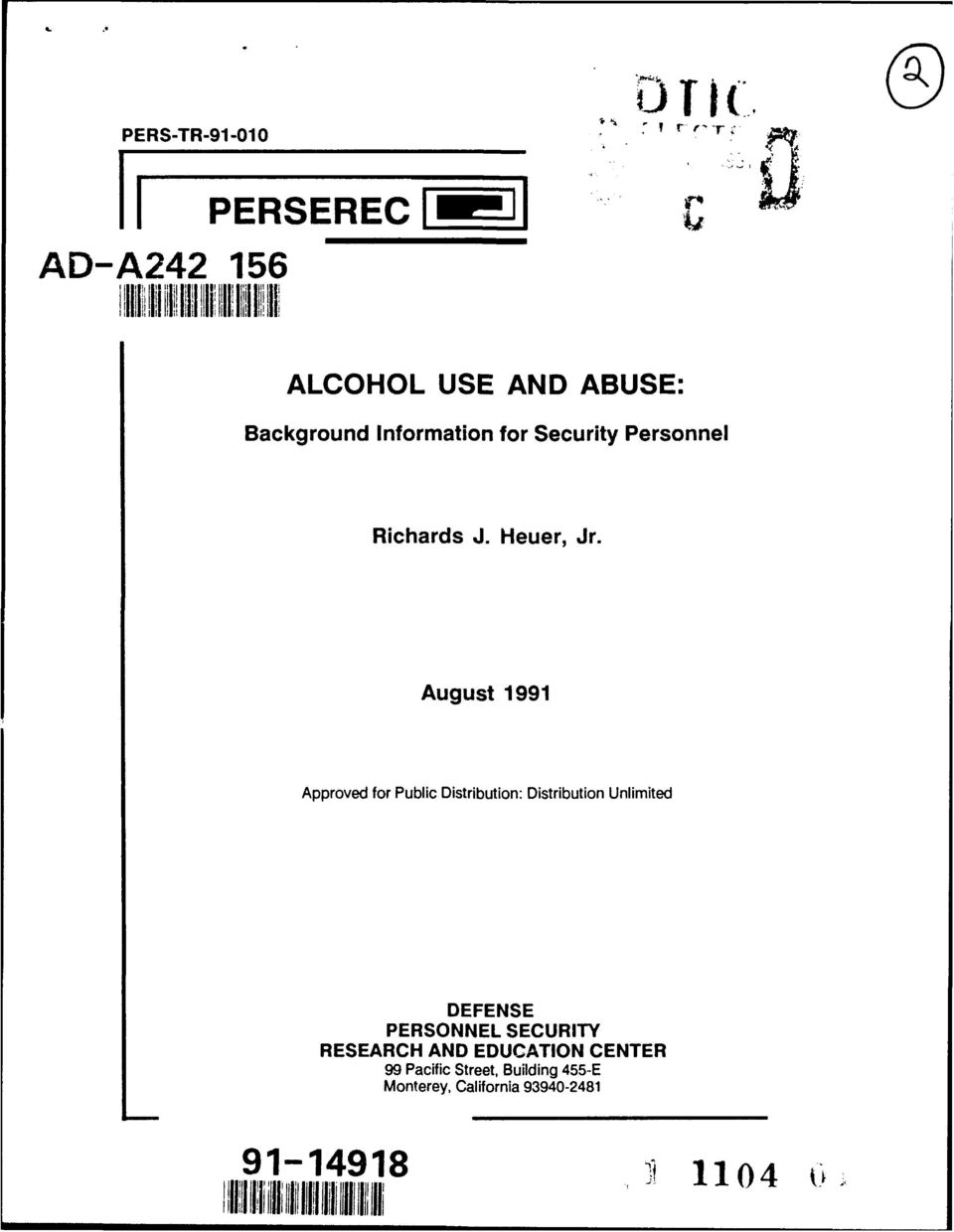 August 1991 Approved for Public Distribution: Distribution Unlimited DEFENSE PERSONNEL