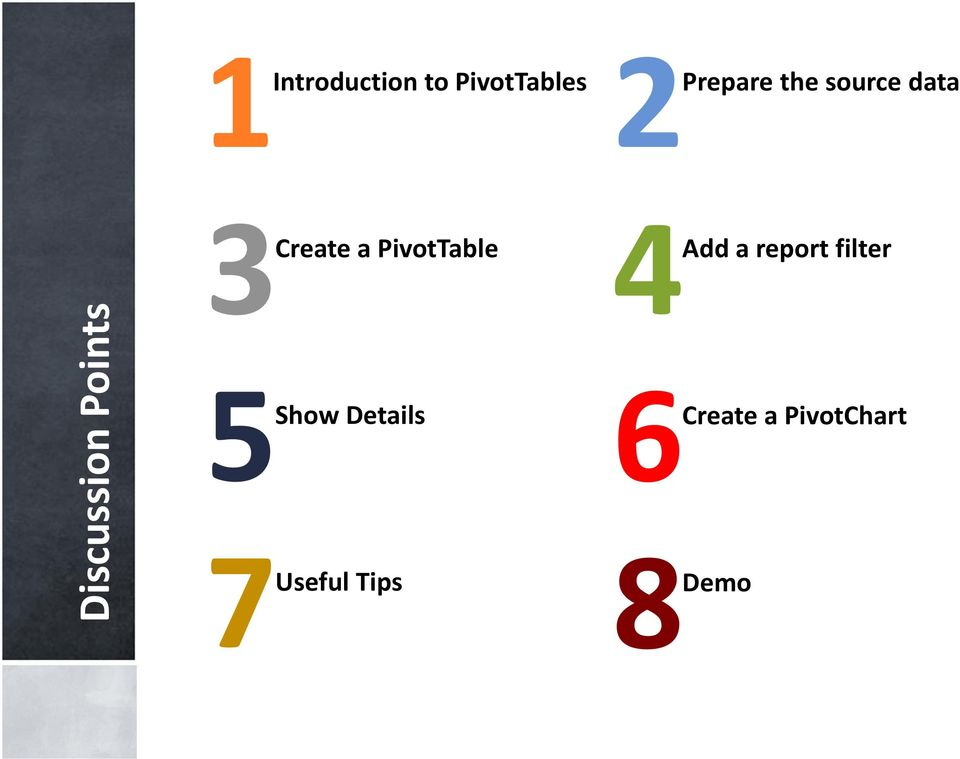 PivotTable 5Show Details 7Useful Tips