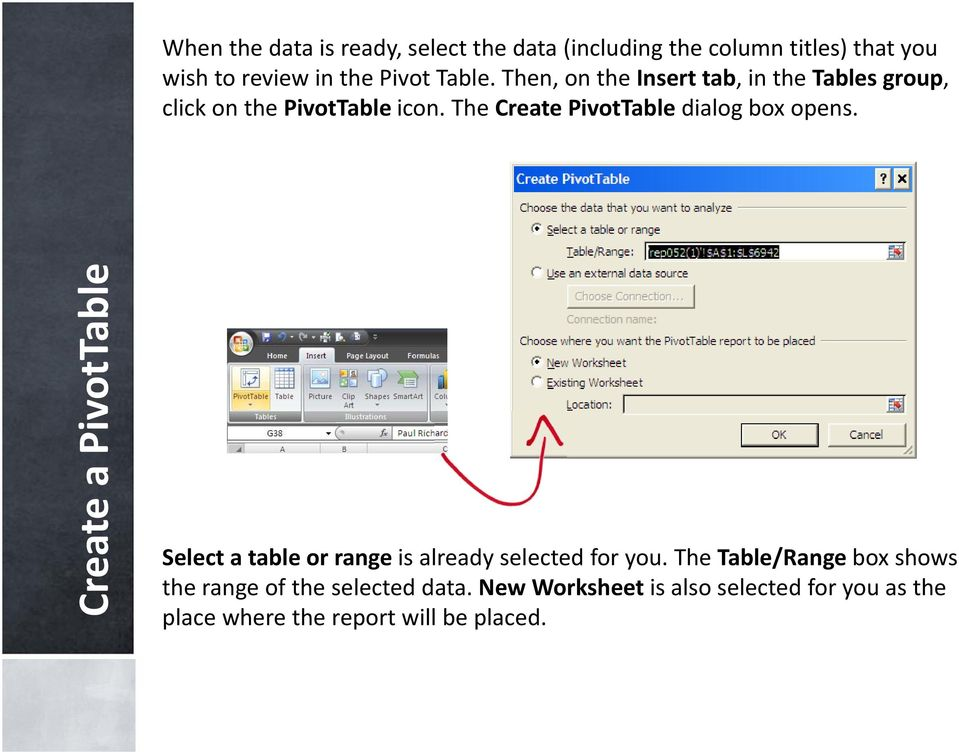 The Create PivotTable dialog box opens. Create a PivotTable Select a table or range is already selected for you.