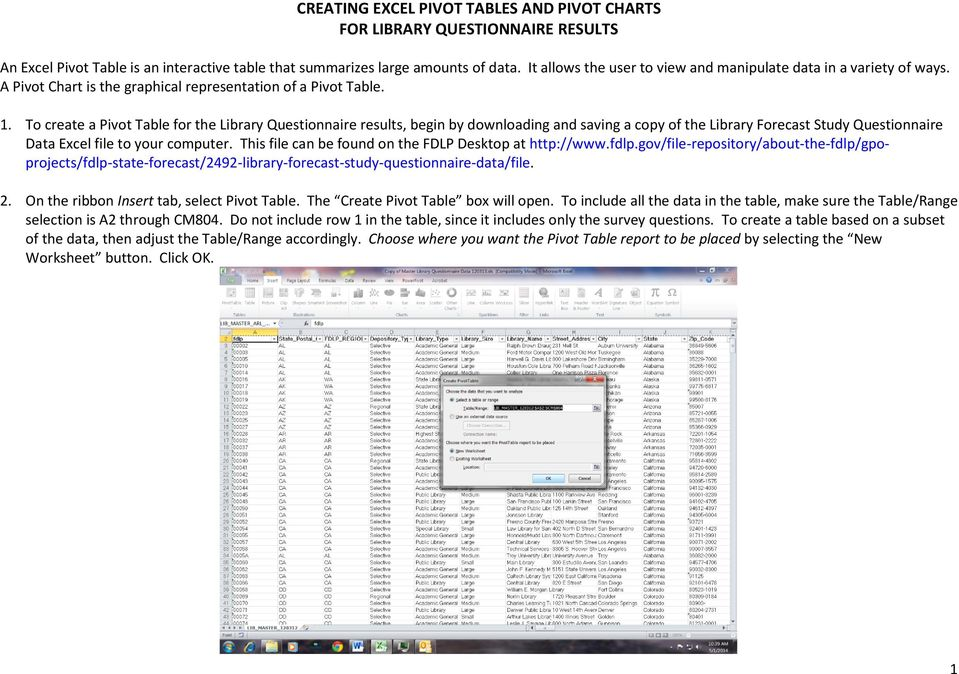 To create a Pivot Table for the Library Questionnaire results, begin by downloading and saving a copy of the Library Forecast Study Questionnaire Data Excel file to your computer.