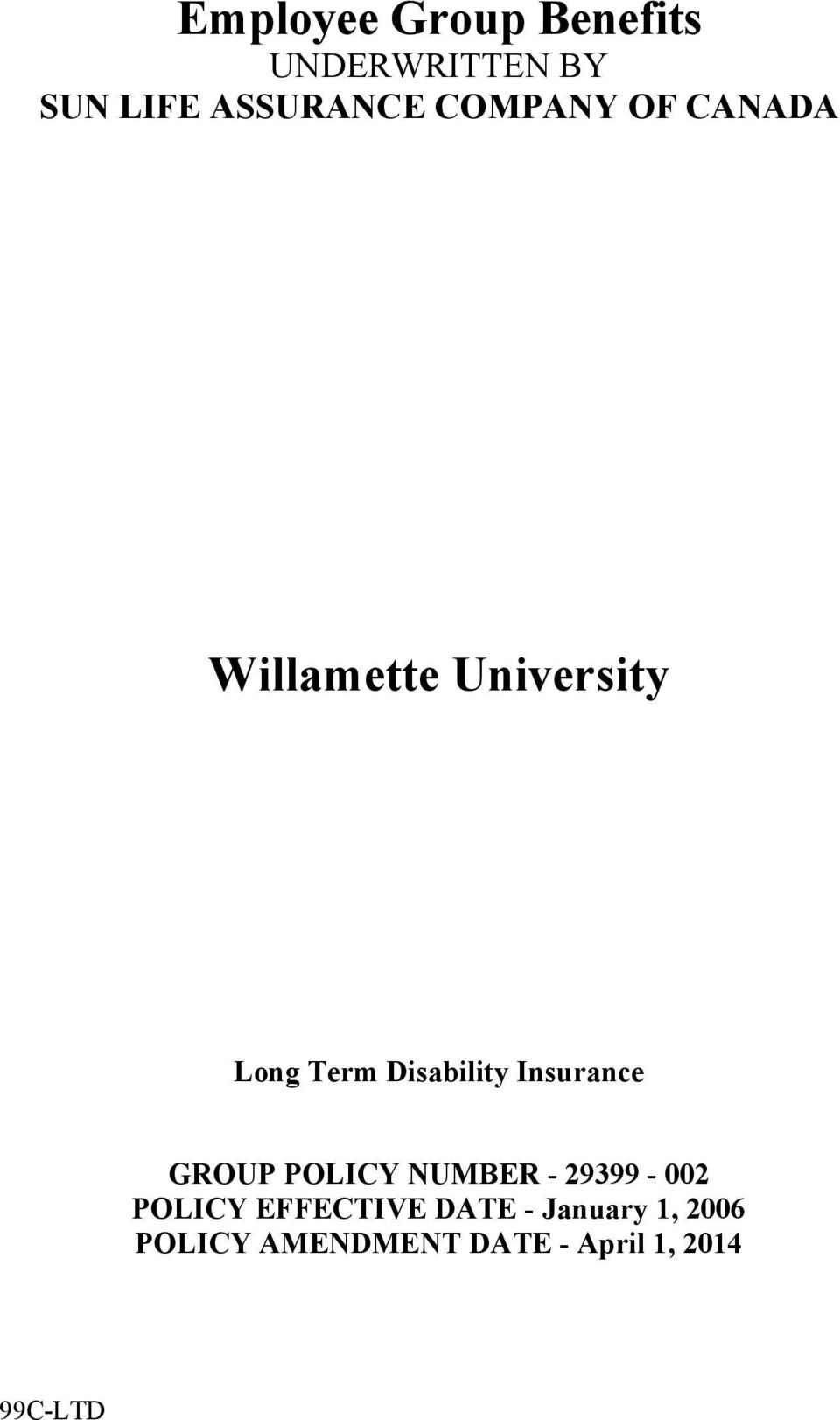Disability Insurance GROUP POLICY NUMBER - 29399-002