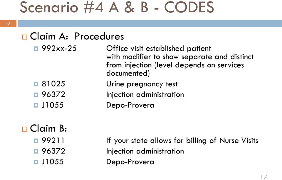 on services documented) Urine pregnancy test Injection administration Depo-Provera Claim B:
