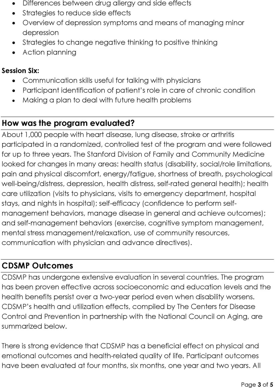 with future health problems How was the program evaluated?