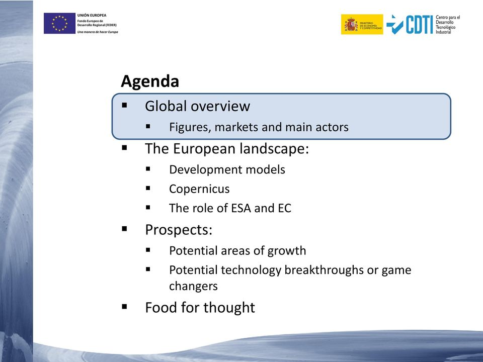 of ESA and EC Prospects: Potential areas of growth