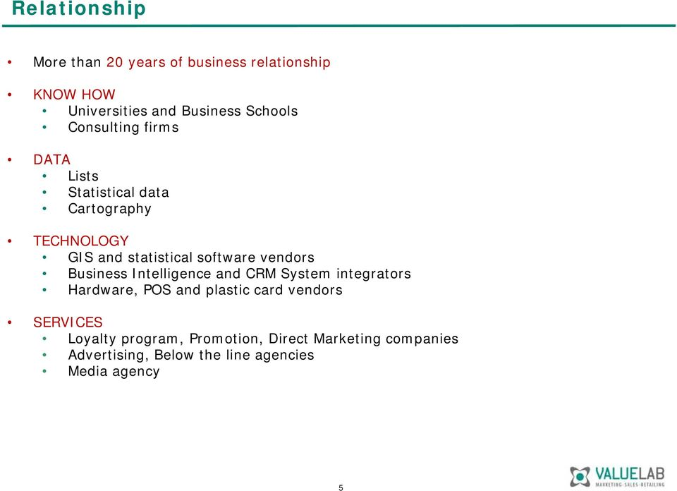 vendors Business Intelligence and CRM System integrators Hardware, POS and plastic card vendors