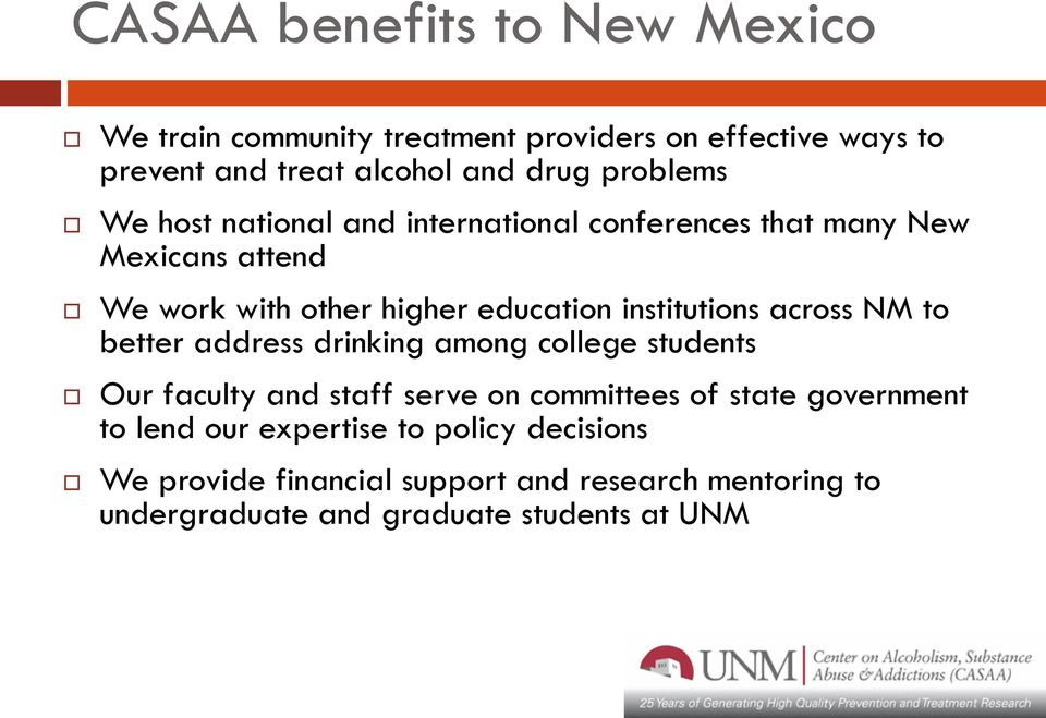 institutions across NM to better address drinking among college students Our faculty and staff serve on committees of state