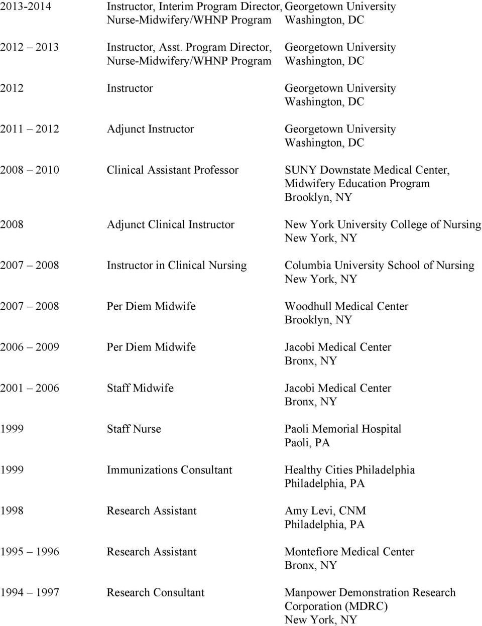 DC 2008 2010 Clinical Assistant Professor SUNY Downstate Medical Center, Midwifery Education Program Brooklyn, NY 2008 Adjunct Clinical Instructor New York University College of Nursing 2007 2008