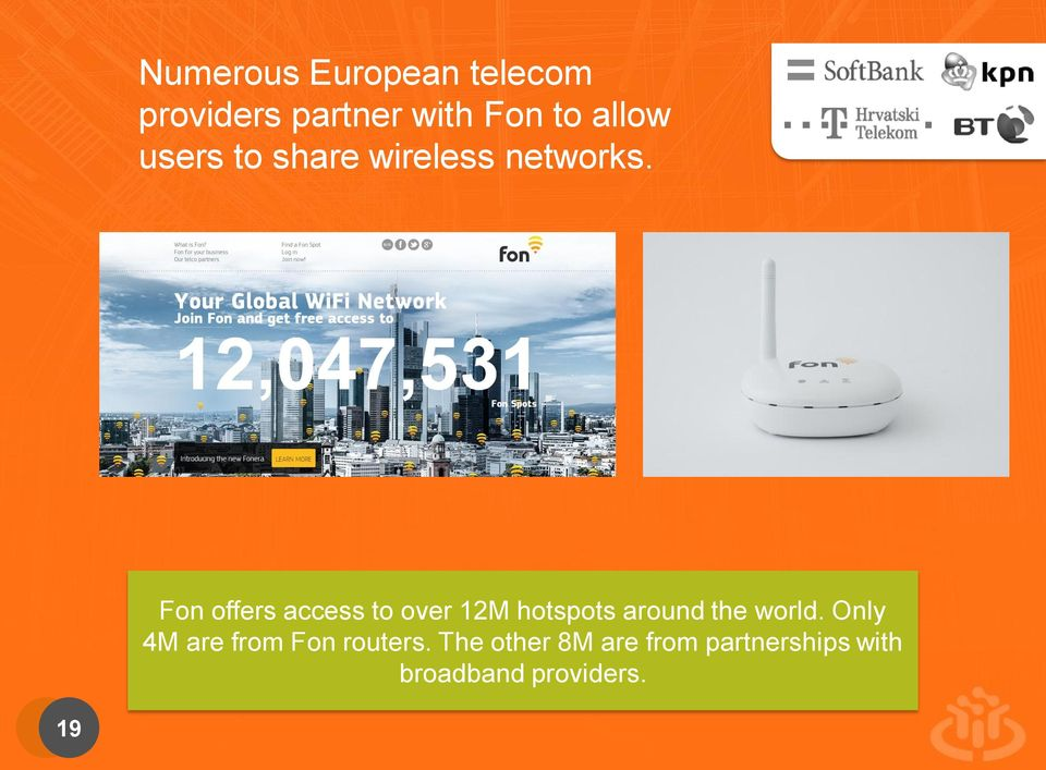 Fon offers access to over 12M hotspots around the world.