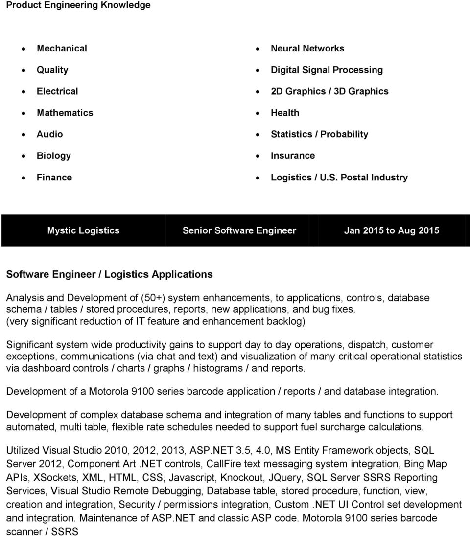 Postal Industry Mystic Logistics Senior Software Engineer Jan 2015 to Aug 2015 Software Engineer / Logistics Applications Analysis and Development of (50+) system enhancements, to applications,