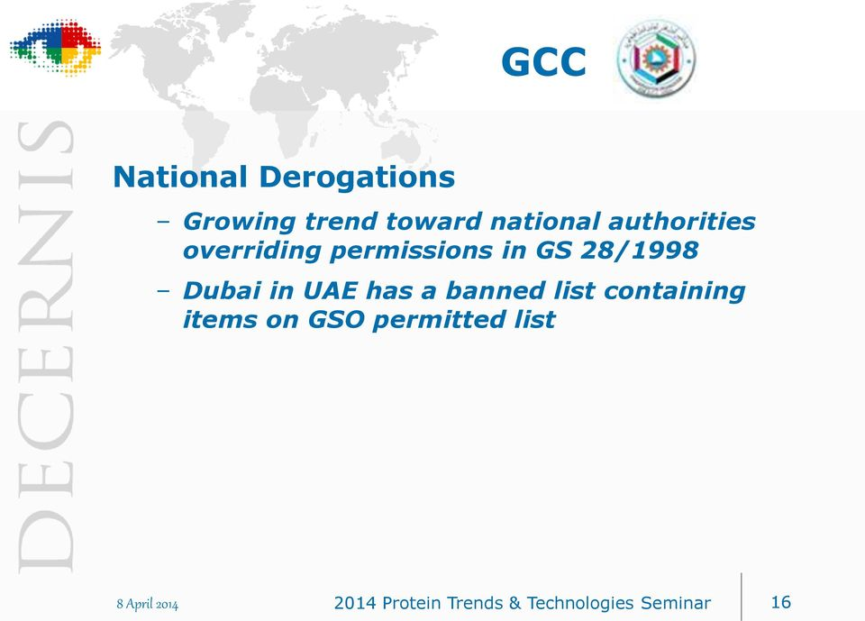 UAE has a banned list containing items on GSO permitted