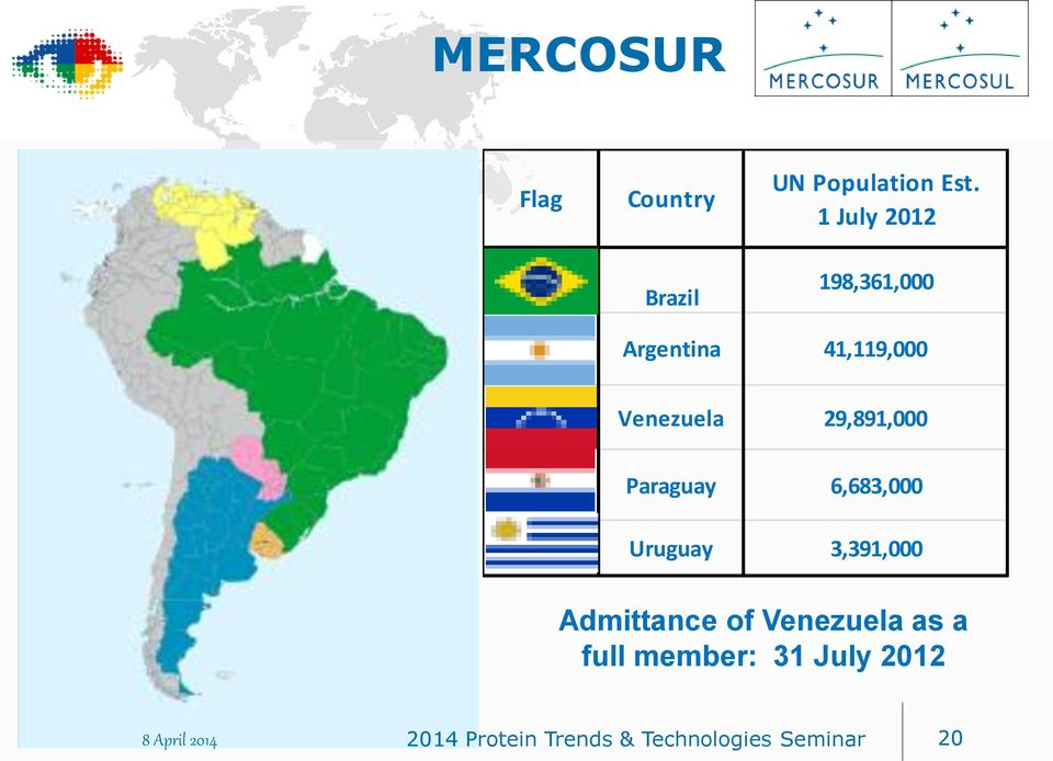 Paraguay 6,683,000 Uruguay 3,391,000 Admittance of Venezuela as a