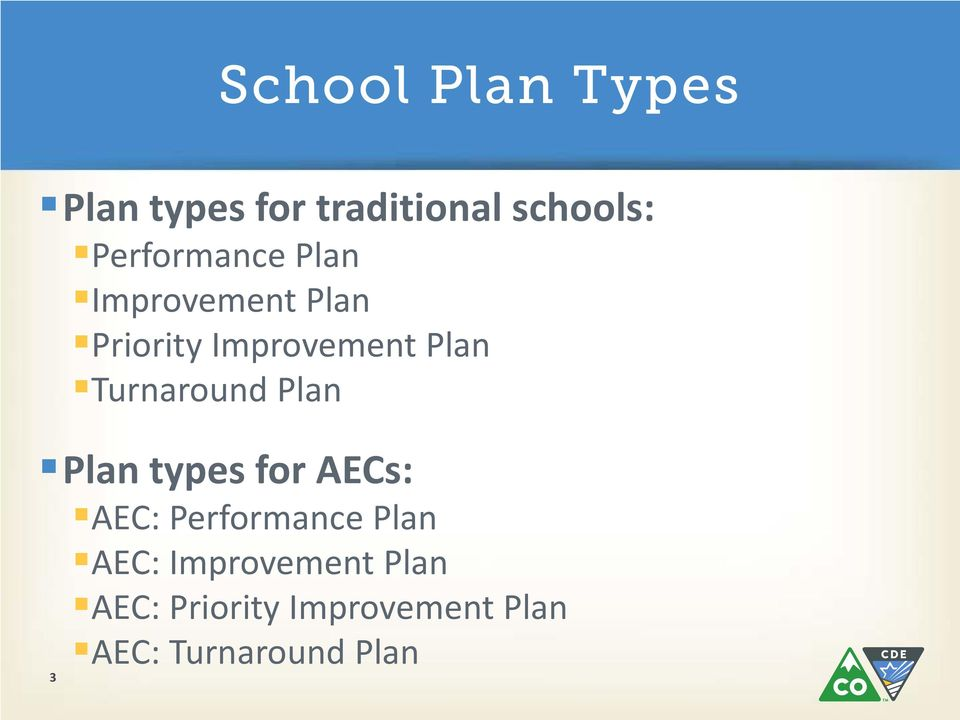 Plan types for AECs: AEC: Performance Plan AEC: Improvement