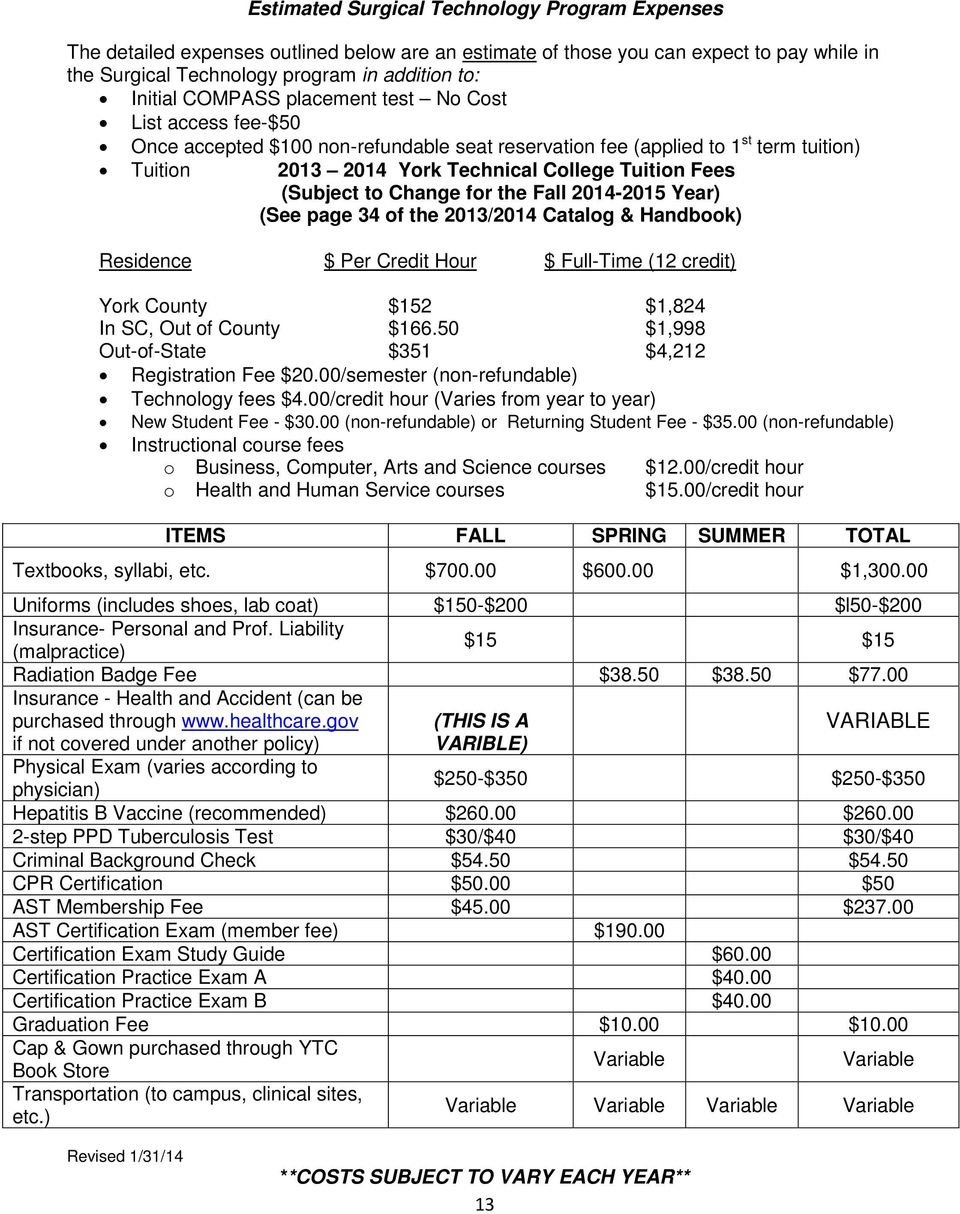 to Change for the Fall 2014-2015 Year) (See page 34 of the 2013/2014 Catalog & Handbook) Residence $ Per Credit Hour $ Full-Time (12 credit) York County $152 $1,824 In SC, Out of County $166.