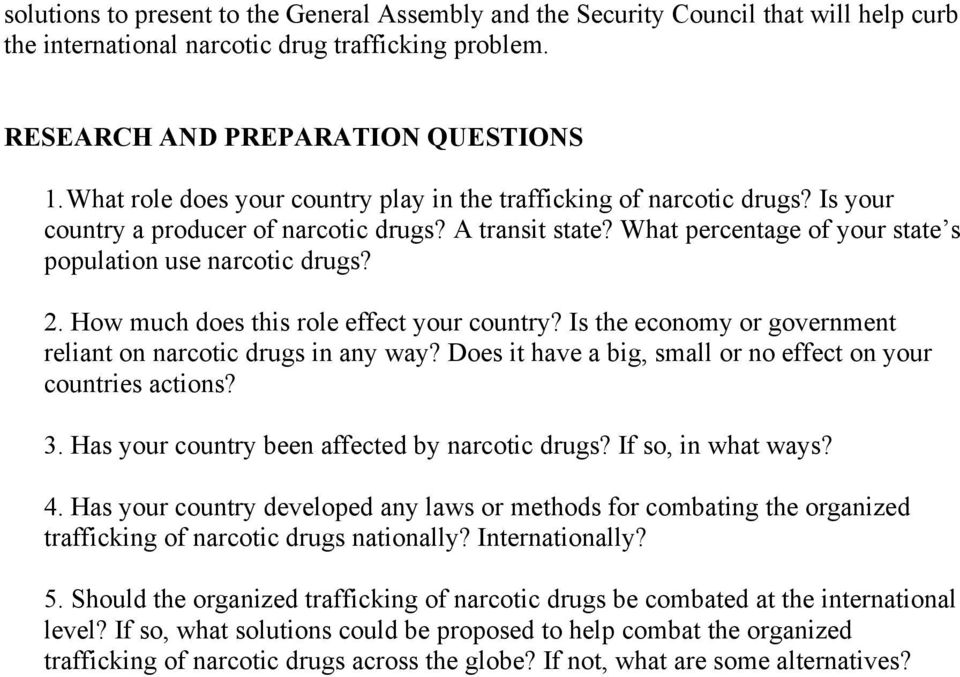 How much does this role effect your country? Is the economy or government reliant on narcotic drugs in any way? Does it have a big, small or no effect on your countries actions? 3.