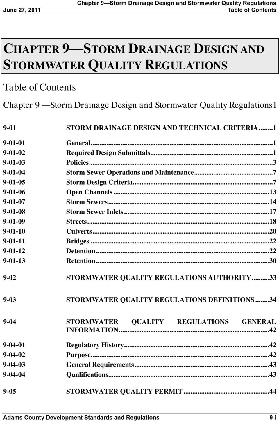 CHAPTER 9 STORM DRAINAGE DESIGN AND STORMWATER QUALITY