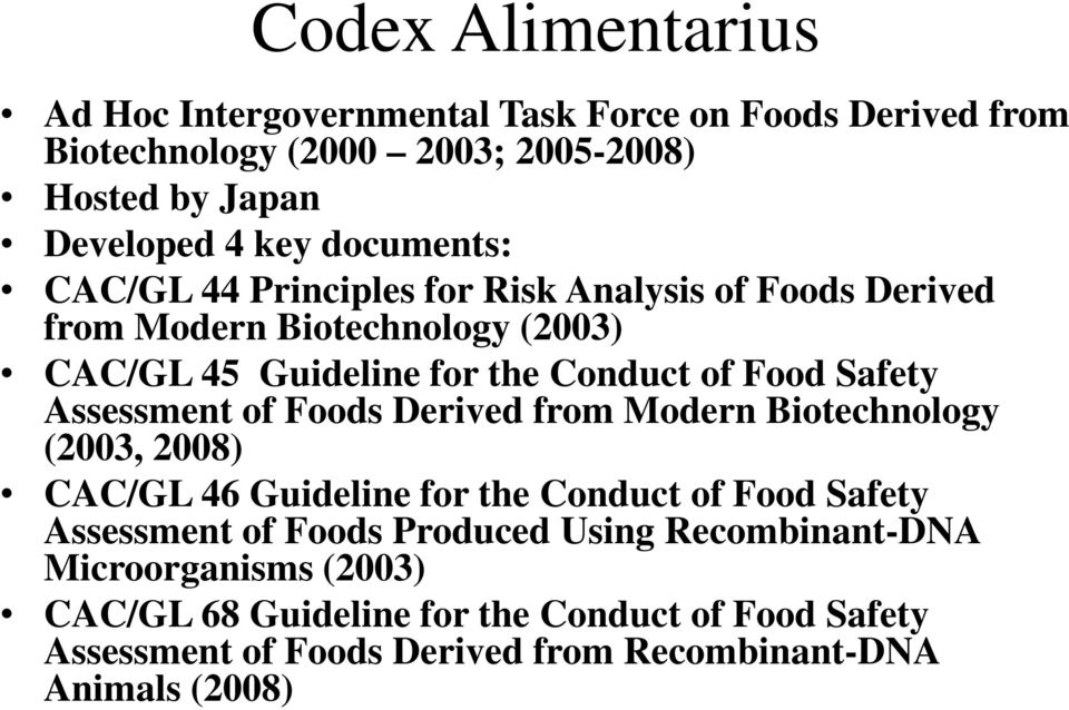 Assessment of Foods Derived from Modern Biotechnology (2003, 2008) CAC/GL 46 Guideline for the Conduct of Food Safety Assessment of Foods Produced