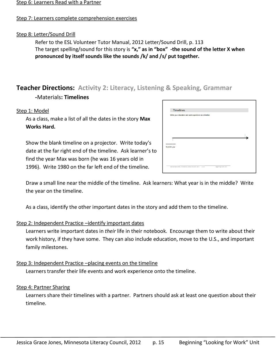 Teacher Directions: Activity 2: Literacy, Listening & Speaking, Grammar -Materials: Timelines Step 1: Model As a class, make a list of all the dates in the story Max Works Hard.