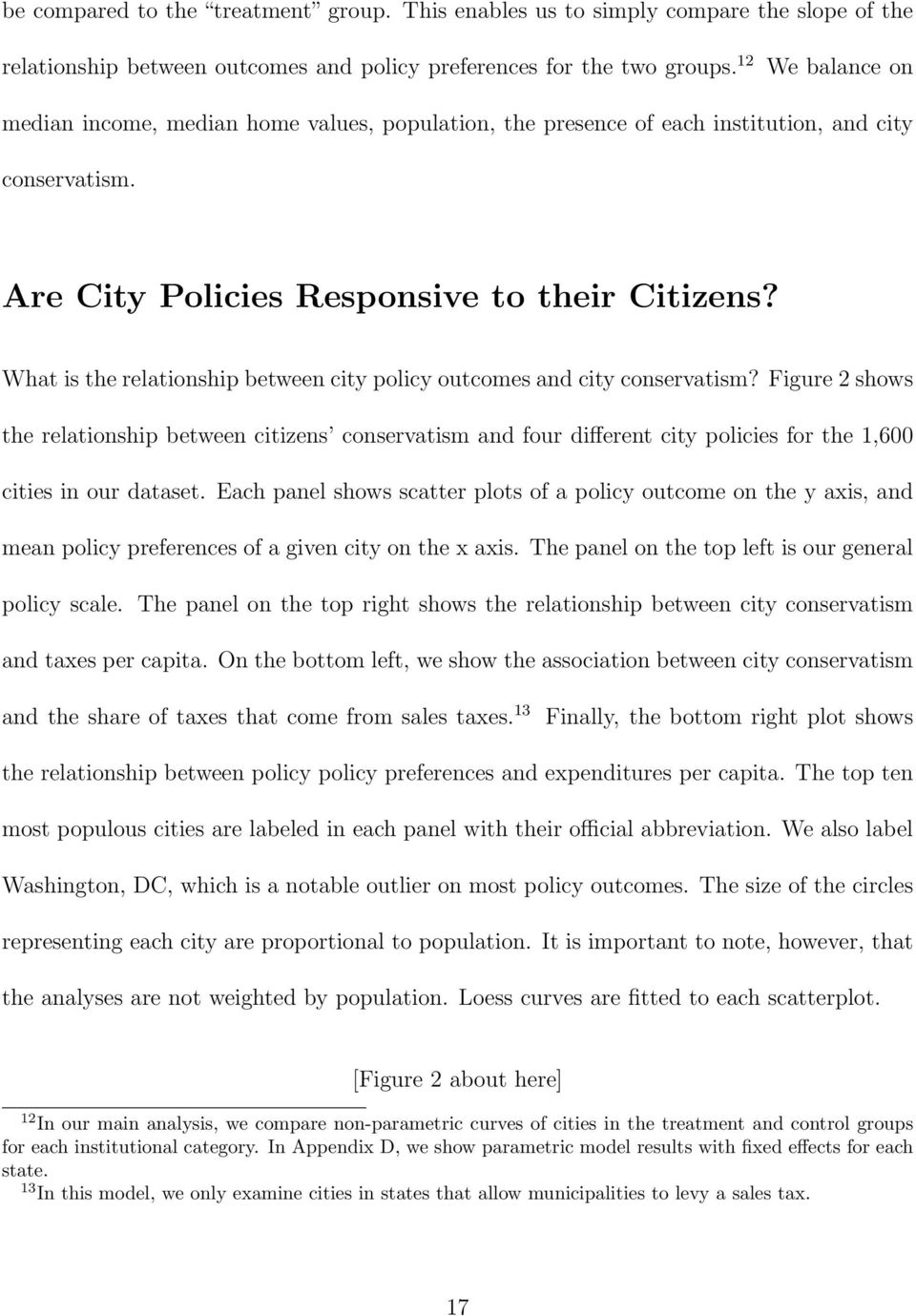 What is the relationship between city policy outcomes and city conservatism?
