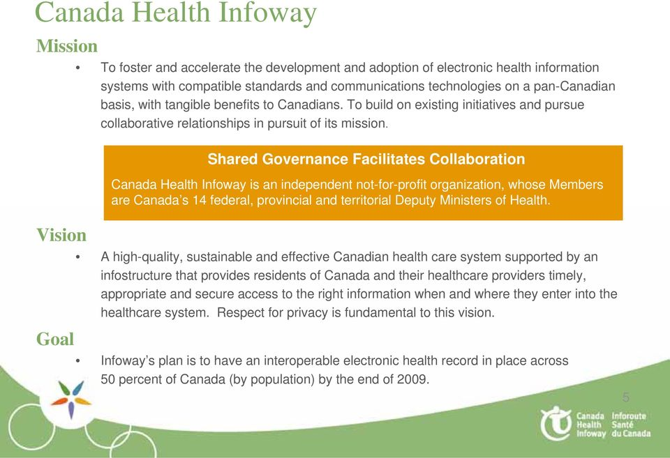 Shared Governance Facilitates Collaboration Canada Health Infoway is an independent not-for-profit organization, whose Members are Canada s 14 federal, provincial and territorial Deputy Ministers of