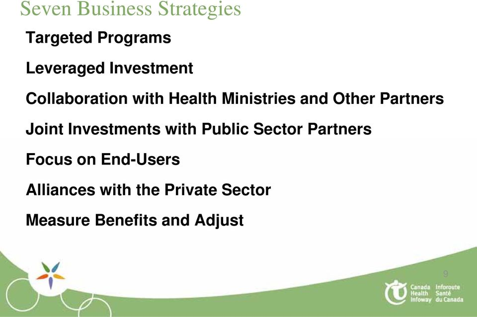 Partners Joint Investments with Public Sector Partners Focus