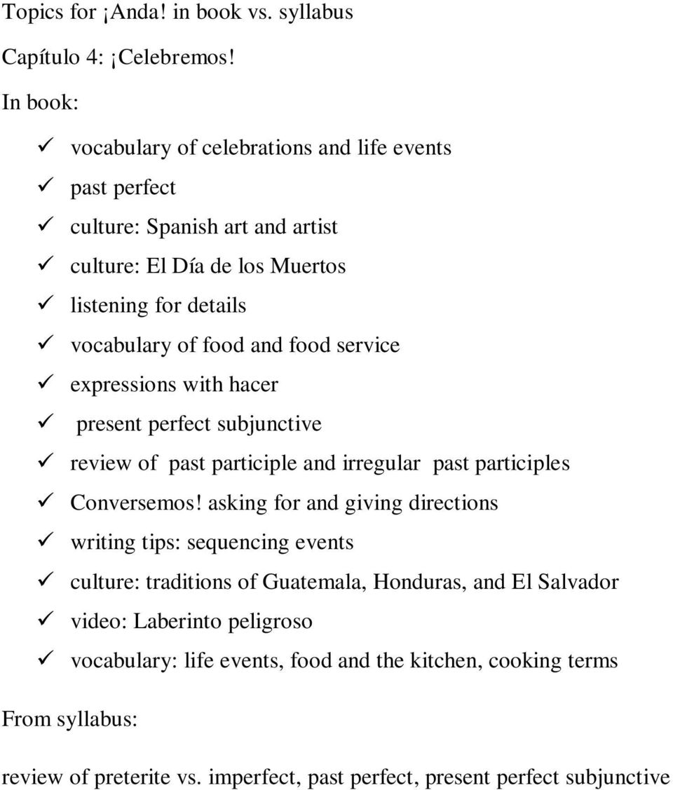 vocabulary of food and food service expressions with hacer present perfect subjunctive review of past participle and irregular past participles