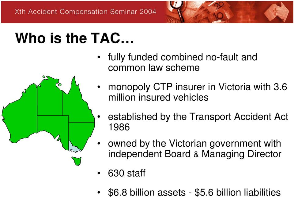 6 million insured vehicles established by the Transport Accident Act 1986
